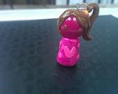 Cute Polymer Clay Charm - Liddy Chibi Collection Hot pink, chocolate, fuchsia, swirl