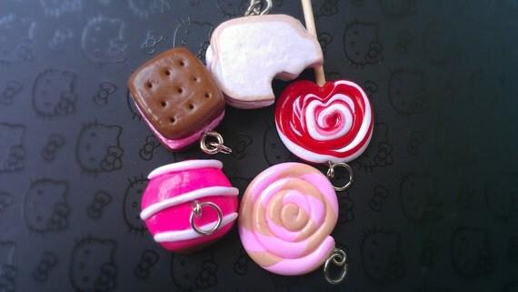 Charms Miniature food charms lollipop, icecream sandwich, sandwich, bun, candy - 5pcs