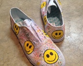 """Hand-Painted """"Happy Face"""" Canvas Sneakers"""
