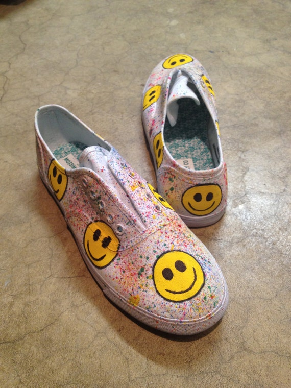 "Hand-Painted ""Happy Face"" Canvas Sneakers"