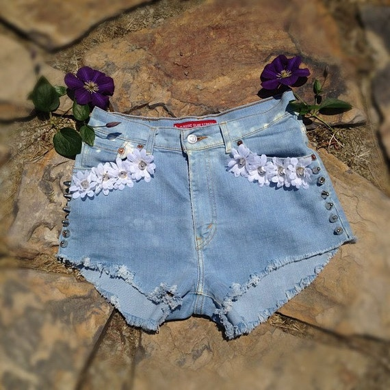 Floral Studded Shorts (Handmade - Made to Order - Re-Purposed Vintage)