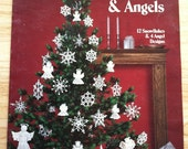 Crocheted Snowflakes & Angels - Leisure Arts No. 255 Crochet Doily Pattern Leaflet 1983 FREE SHIPPING