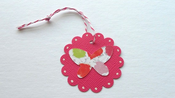 Butterfly Scallop Tags QTY 12--Gift Tag--Scrapbooking -Party Tags