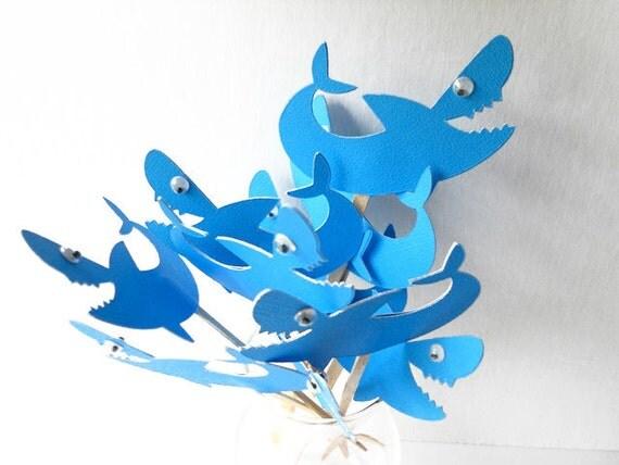 Shark Cupcake Toppers Qty 12-4th July-Birthday-Beach