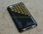 BUY 1 FREE 1--Golden pyramid stud Studded  white/black Hard Case  fit ipod  touch 4