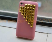 Gold pyramid stud Studded touch 4 Pink soft  silicone Case  fit ipod touch 4 G