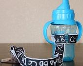 ABCD Sippy Cup Leash, Sippy Strap, Sippy Cup Strap with Suction Cup, Bottle Tether, Bottle Strap, Toy Tether, Suction Sippy Strap