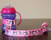 Bottle Tether, Toy Tether, Sippy Strap with Suction Cup- Hello Kitty