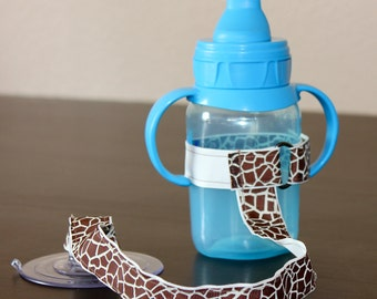 Sippy Cup Leash | Sippy Strap | Sippy Cup Strap Suction Cup | Bottle Tether | Sippy Cup Strap | Suction Sippy Strap | Giraffe