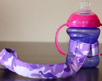 Sippy Cup Leash | Sippy Strap | Sippy Cup Strap Suction Cup | Bottle Tether | Sippy Cup Strap | Suction Sippy Strap | Purple Camouflage