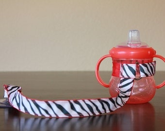 Sippy Cup Leash, Sippy Cup Strap, Baby Bottle Holder, Toddler Gift, Christmas Gift, New Mom Gift - Zebra Red