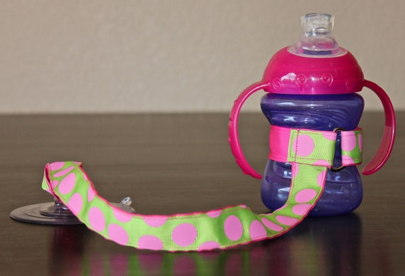 Sippy Cup Leash | Sippy Strap | Sippy Cup Strap Suction Cup | Bottle Tether | Sippy Cup Strap | Suction Sippy Strap | Lime Pink Dots