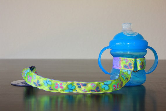 Butterflies Sippy Cup Leash, Sippy Strap,Sippy Cup Strap with Suction Cup, Bottle Tether, Bottle Strap, Toy Tether, Suction Sippy Strap