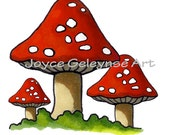 Printable Clip Art: Hand Drawn Clipart Three Toadstools or Mushrooms, Commercial Use, jpg and gif files included,  INSTANT DOWNLOAD