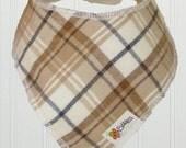 Baby Bandana / Dribble Bib - Prairie Plaid Brushed Cotton Flannelette Tan Cream Brown