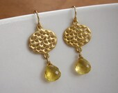 HARPER citrine dangle earrings in gold - yellow gemstone earrings - gold lace medallion earrings