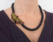 KATHERINE vintage brooch necklace - black czech glass beaded necklace - vintage rhinestone statement necklace