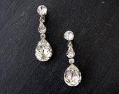 MONROE vintage rhinestone crystal earrings - bridal dangle clip earrings - antique estate jewelry