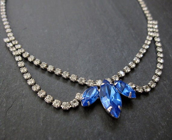 SAPPHIRE vintage rhinestone necklace - blue and clear crystal bridal necklace - antique estate costume jewelry