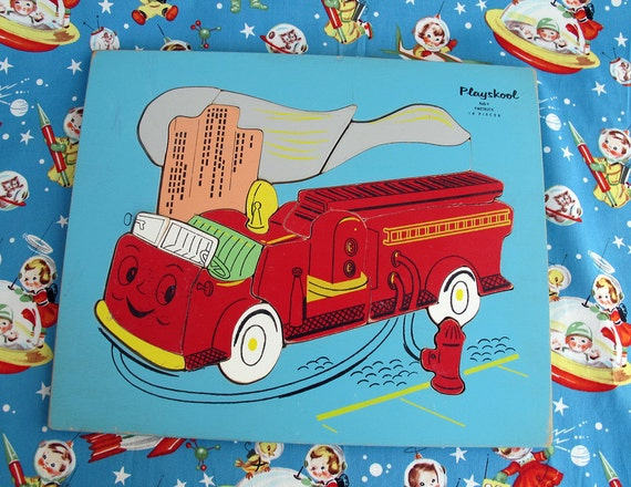 60's Playskool Fire Truck Wood Puzzle, 19 Pieces