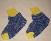 Hand knitted socks for women, blue, multi-colored with yellow decorations