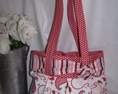 Red Paisley and Stripe Bag
