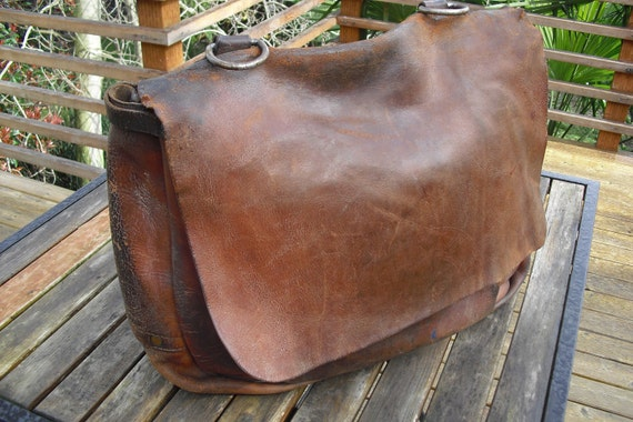 Authentic Vintage Leather Us Mail Carrier Bag By