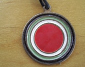 Mens Round Metal Pendant Vintage 90s Colorful Charm Boho Beach Summer Pendant