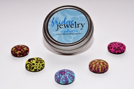 FRIDGE JEWLERY: Set of FIVE Multi-Colored Bright Magnets in Reuseable Container