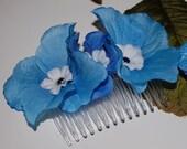 Blue Hydrangea Flower Comb