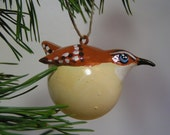 carolina wren bird ornament - ornament sculpture - handpainted, handsculpted ornament