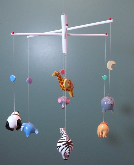 Items similar to baby nursery zoo mobile a unique modern for Unusual baby mobiles