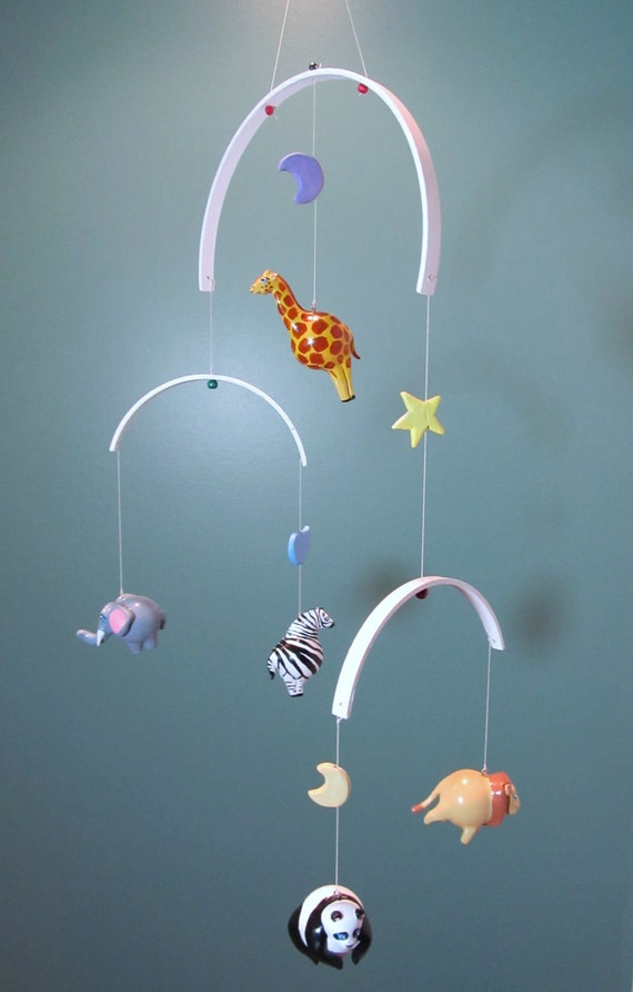 Baby mobile for nursery custom zoo mobile a unique by for Unusual baby mobiles