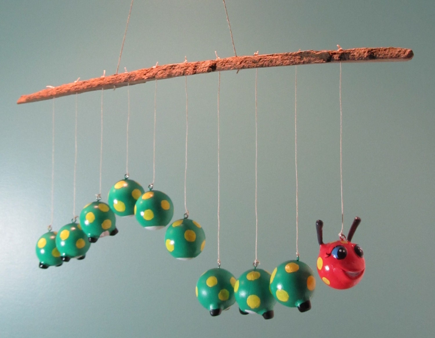 Baby mobile custom caterpillar mobile bark holder by for Unusual baby mobiles
