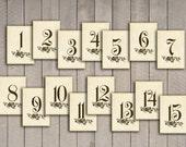 Vintage Wedding 25 Table Numbers (printable) (DIY) INSTANT DOWNLOAD