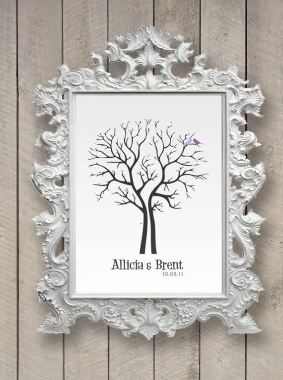 Wedding Tree Guest Book Print Thumbprint modern (design)(any size) guestbook