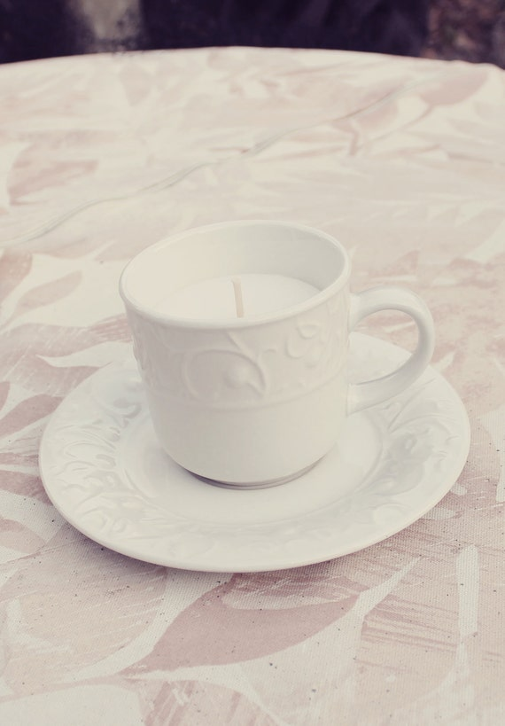 Pure white Vanilla Scented Coffee Cup shabby chic