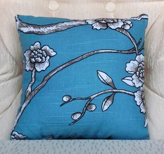 Decorative Throw Pillow Cover Small Vintage Blossom Jade/ Blue