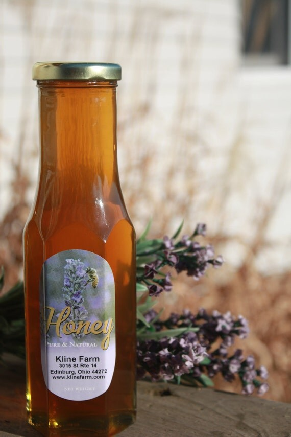 Lavender Infused Honey 12 ounces  All natural grown, harvested and infused right on the farm.