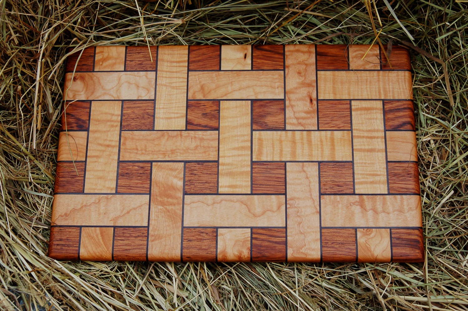 Teak And Curly Maple Cutting Board By Beckhamwoodworking