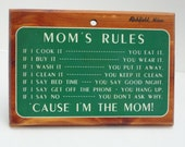 Vintage House Rules Sign Mom's Rules Wood Painted sign Richfield Minnesota Grass green 1960's by metrocottage