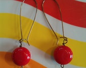 Vintage Lucite Cherry Red Kidney Wire Earrings