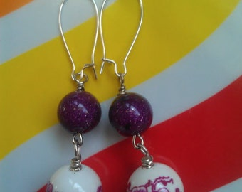 Sparkly Purple Vintage Lucite and Pink Floral Porcelain Beaded Earrings on Silver-Plated Kidney-Shape Earwires