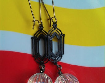 """Vintage Lucite """"Aurora Borealis"""" Fluted Bead Earrings with Brass Connector and Kidney-Shaped Earwires"""