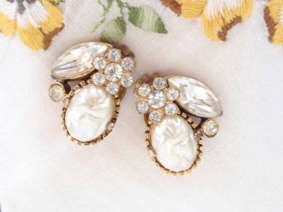 Earrings Pearl Rhinestones Marquise Vintage