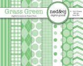Digital Scrapbook Paper Pack - Grass Green - Pantone Spring Collection