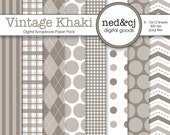 Digital Scrapbook Paper Pack - Vintage Khaki - Pantone Spring Collection