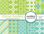 Digital Scrapbook Paper Pack - Citrus Confetti - Lime & Turquoise