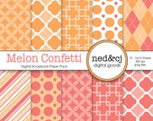 Digital Scrapbook Paper Pack - Melon Confetti - Watermelon & Cantaloupe