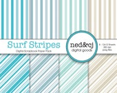 Digital Scrapbook Paper Pack - Surf Stripes - Sea, Sky, Tide & Sand - Blue, Green, Tan - Digital Paper - INSTANT DOWNLOAD